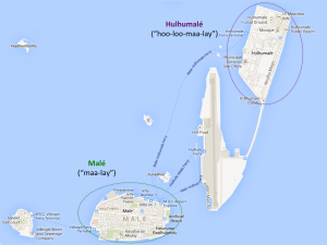 Map of Malé and Hulhumalé
