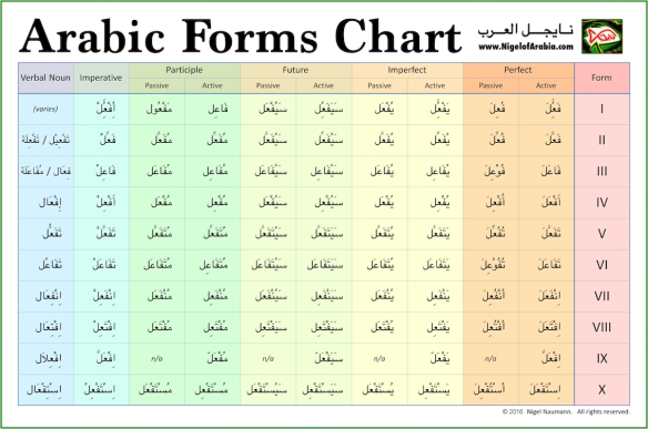 Arabic Forms Chart (Verb Forms I-X) Poster | Nigel of Arabia