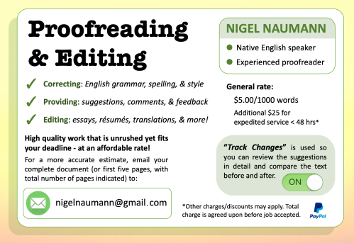 Nigel of Arabia English Proofreading and Editing